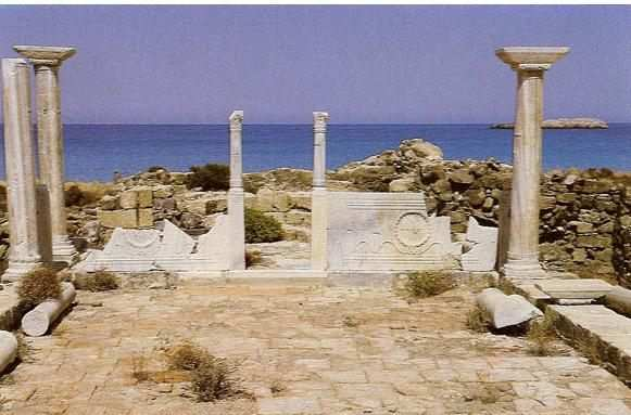 Karpathos. The ruins of a Christian Basilica of 5th/6th century A.D.